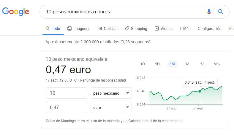 cambio de pesos mexicanos a euros