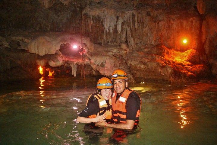 couple underground cenote riviera maya