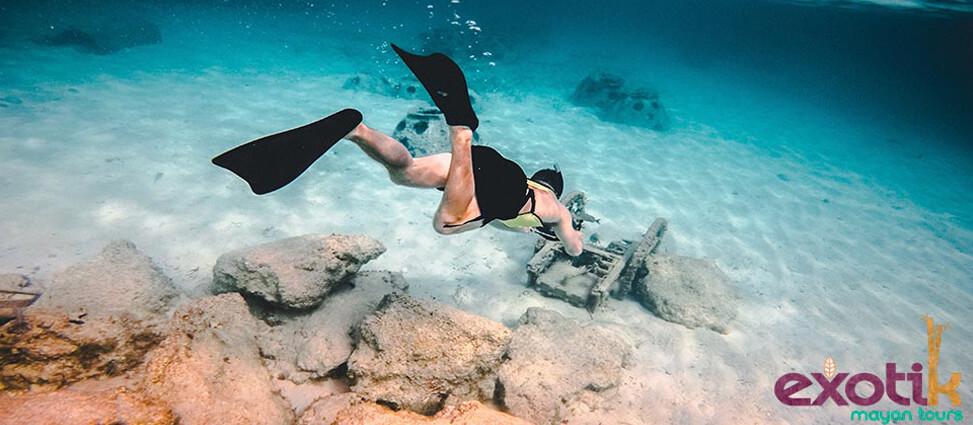 La excursión Tulum- Cobá- Akumal te permitirá realizar la actividad del snorkel, totalmente inolvidable.